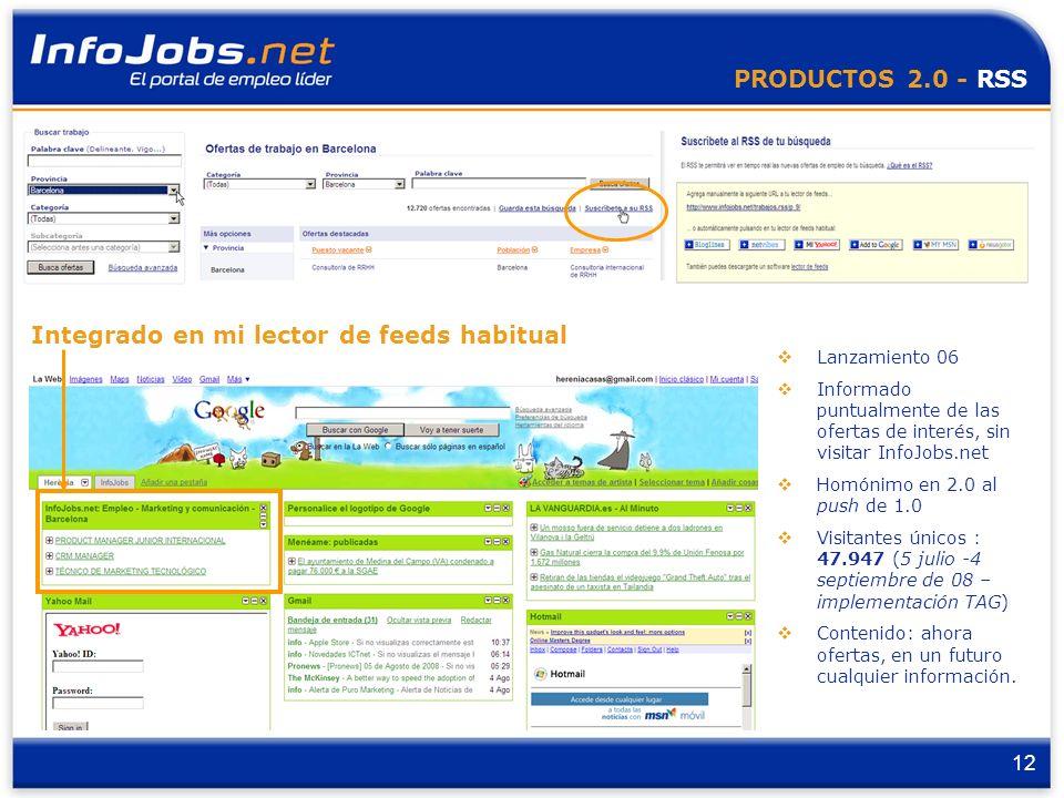 12 PRODUCTOS 2.0 - RSS Lanzamiento 06 Informado puntualmente de las ofertas de interés, sin visitar InfoJobs.net Homónimo en 2.0 al push de 1.0 Visitantes únicos : 47.947 (5 julio -4 septiembre de 08 – implementación TAG) Contenido: ahora ofertas, en un futuro cualquier información.