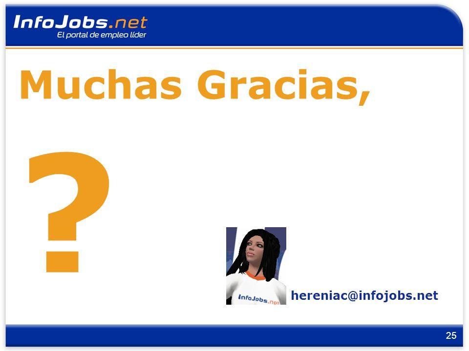 25 hereniac@infojobs.net Muchas Gracias, ?
