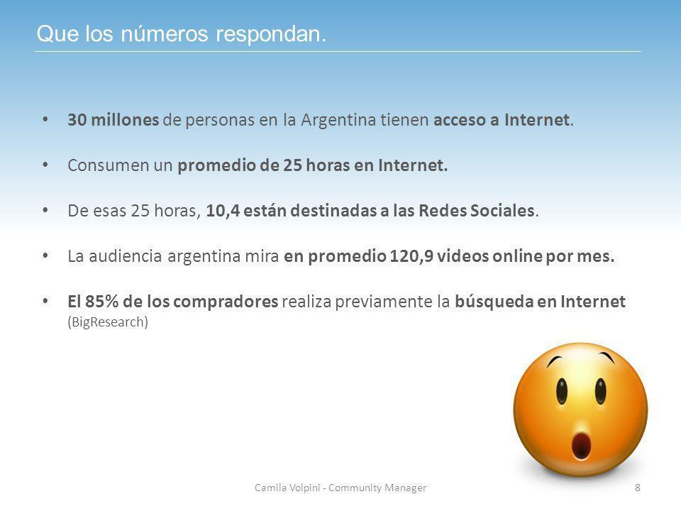 Que los números respondan. 30 millones de personas en la Argentina tienen acceso a Internet. Consumen un promedio de 25 horas en Internet. De esas 25
