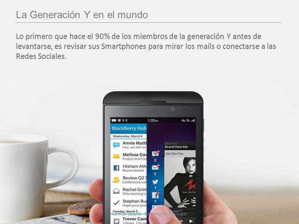 La Generación Y en el mundo Lo primero que hace el 90% de los miembros de la generación Y antes de levantarse, es revisar sus Smartphones para mirar los mails o conectarse a las Redes Sociales.