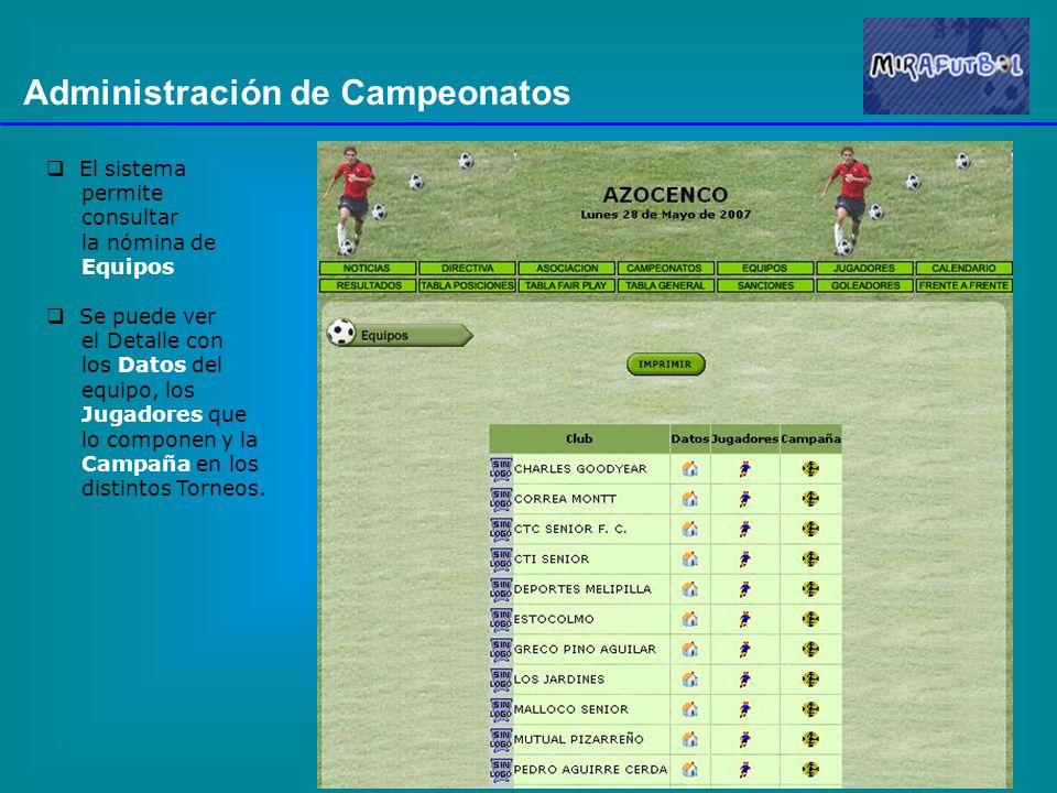 Administración de Campeonatos El sistema permite consultar la nómina de Equipos Se puede ver el Detalle con los Datos del equipo, los Jugadores que lo