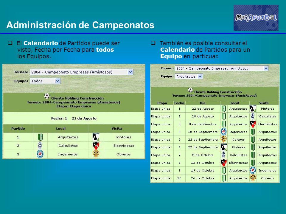 Administración de Campeonatos El Calendario de Partidos puede ser visto, Fecha por Fecha para todos los Equipos. También es posible consultar el Calen