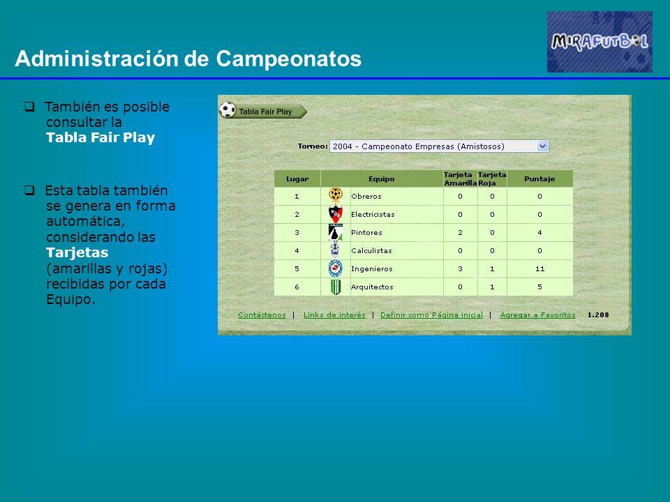 Administración de Campeonatos También es posible consultar la Tabla Fair Play Esta tabla también se genera en forma automática, considerando las Tarjetas (amarillas y rojas) recibidas por cada Equipo.