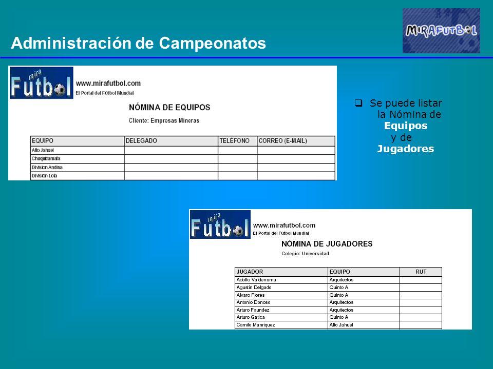 Administración de Campeonatos Se puede listar la Nómina de Equipos y de Jugadores