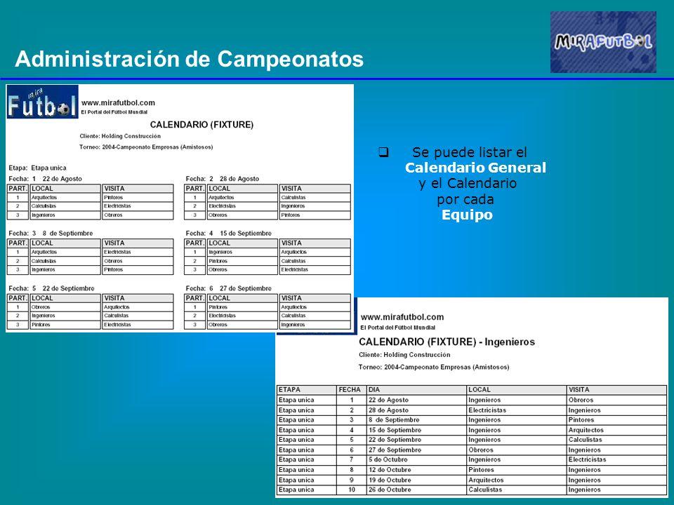 Administración de Campeonatos Se puede listar el Calendario General y el Calendario por cada Equipo