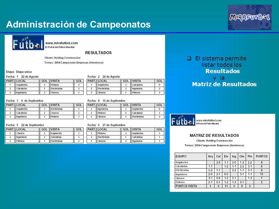 Administración de Campeonatos El sistema permite listar todos los Resultados y la Matriz de Resultados