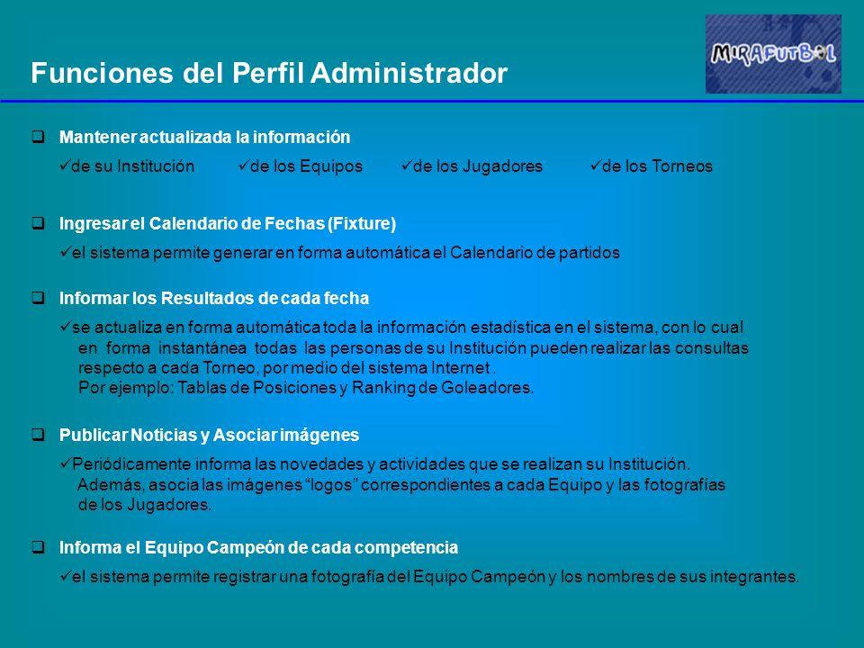 Funciones del Perfil Administrador Mantener actualizada la información de su Institución de los Equipos de los Jugadores de los Torneos Ingresar el Ca