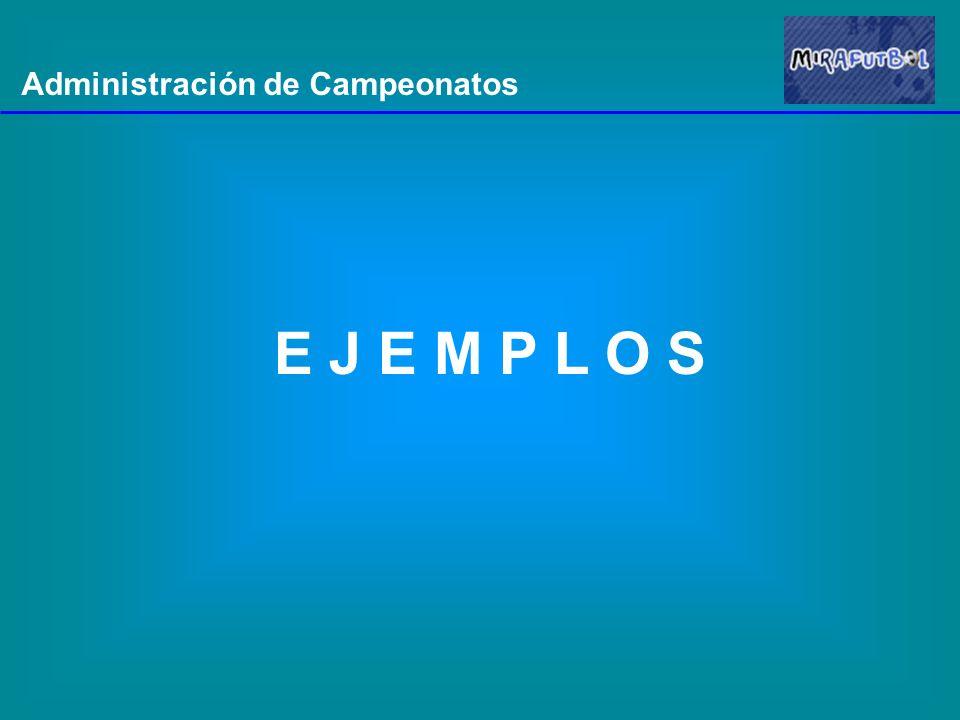 Administración de Campeonatos E J E M P L O S