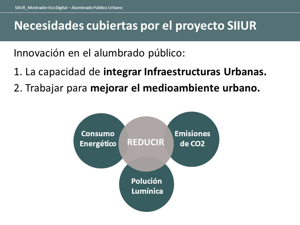SIIUR_Mostrador Eco Digital – Alumbrado Público Urbano Los principales objetivos del proyecto SIIUR - Emisiones de dióxido de carbono (CO2) - Consumo de electricidad y costes en iluminación urbana.