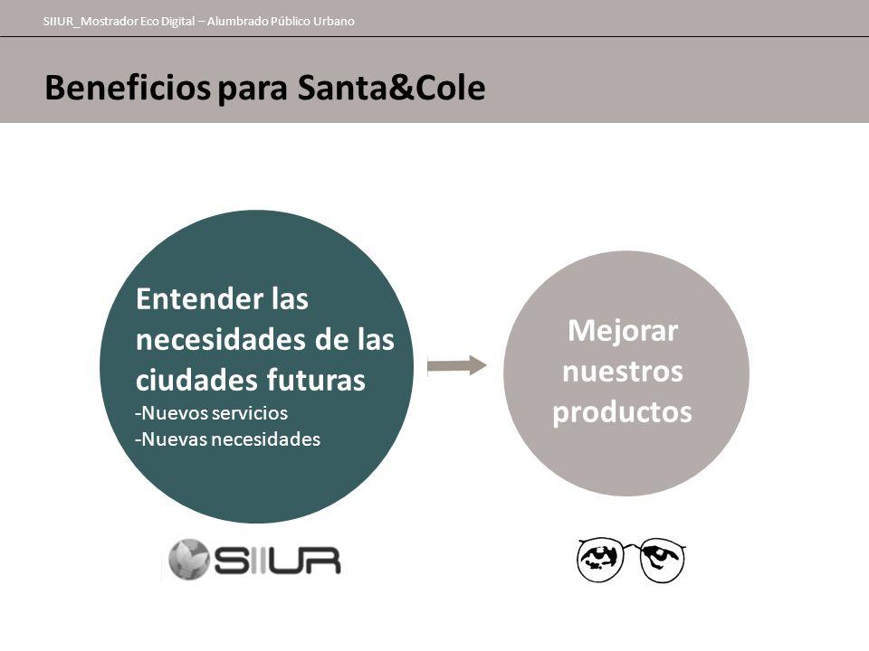 Beneficios para Santa&Cole SIIUR_Mostrador Eco Digital – Alumbrado Público Urbano Mejorar nuestros productos Entender las necesidades de las ciudades