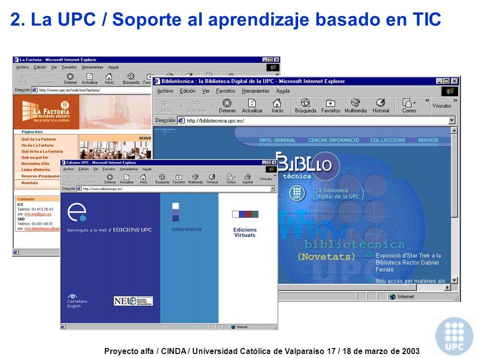 Proyecto alfa / CINDA / Universidad Católica de Valparaiso 17 / 18 de marzo de 2003 2.