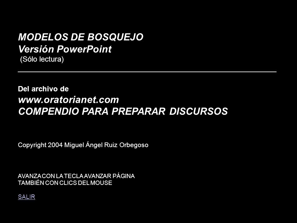 1 MODELOS DE BOSQUEJO Versión PowerPoint (Sólo lectura) _______________________________________________________________ Del archivo de www.oratorianet