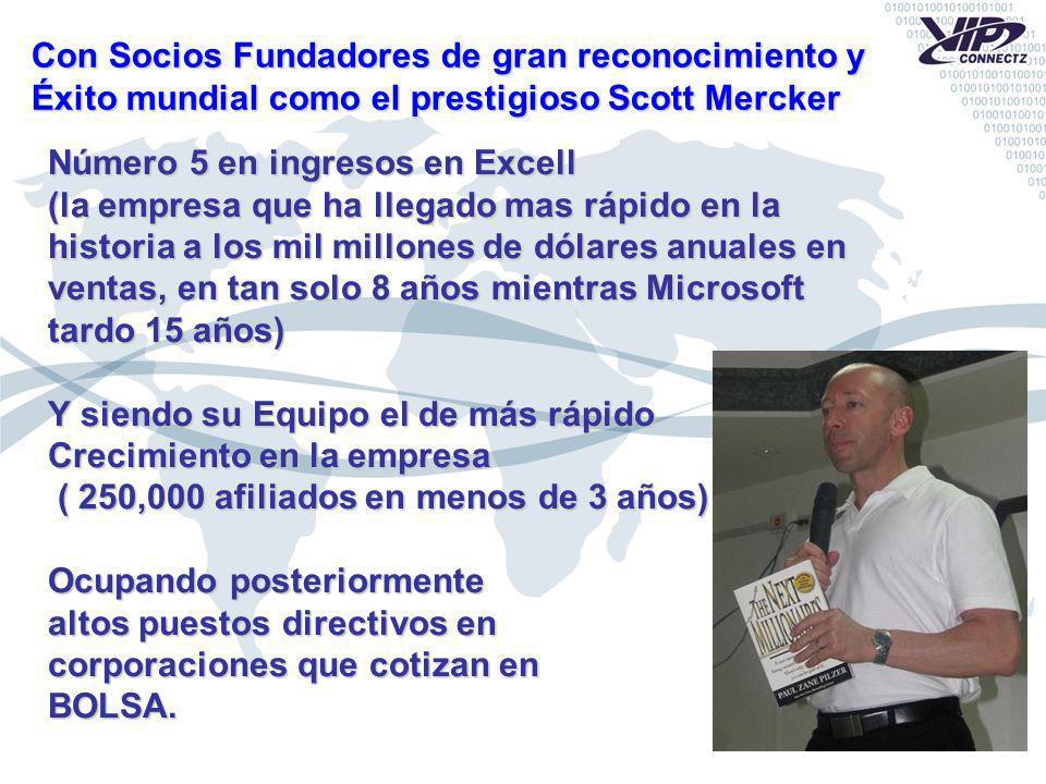 Con Socios Fundadores de gran reconocimiento y Éxito mundial como el prestigioso Scott Mercker Número 5 en ingresos en Excell (la empresa que ha llega