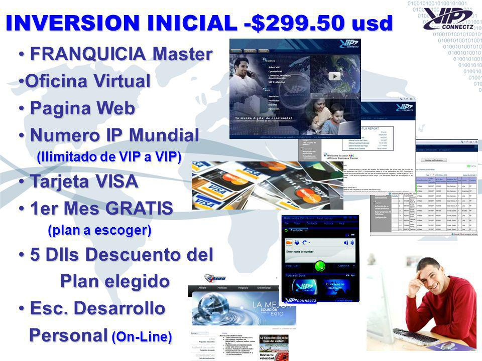 INVERSION INICIAL -$299.50 usd FRANQUICIA Master FRANQUICIA Master Oficina VirtualOficina Virtual Pagina Web Pagina Web Numero IP Mundial Numero IP Mundial (Ilimitado de VIP a VIP) (Ilimitado de VIP a VIP) Tarjeta VISA Tarjeta VISA 1er Mes GRATIS 1er Mes GRATIS (plan a escoger) (plan a escoger) 5 Dlls Descuento del 5 Dlls Descuento del Plan elegido Plan elegido Esc.