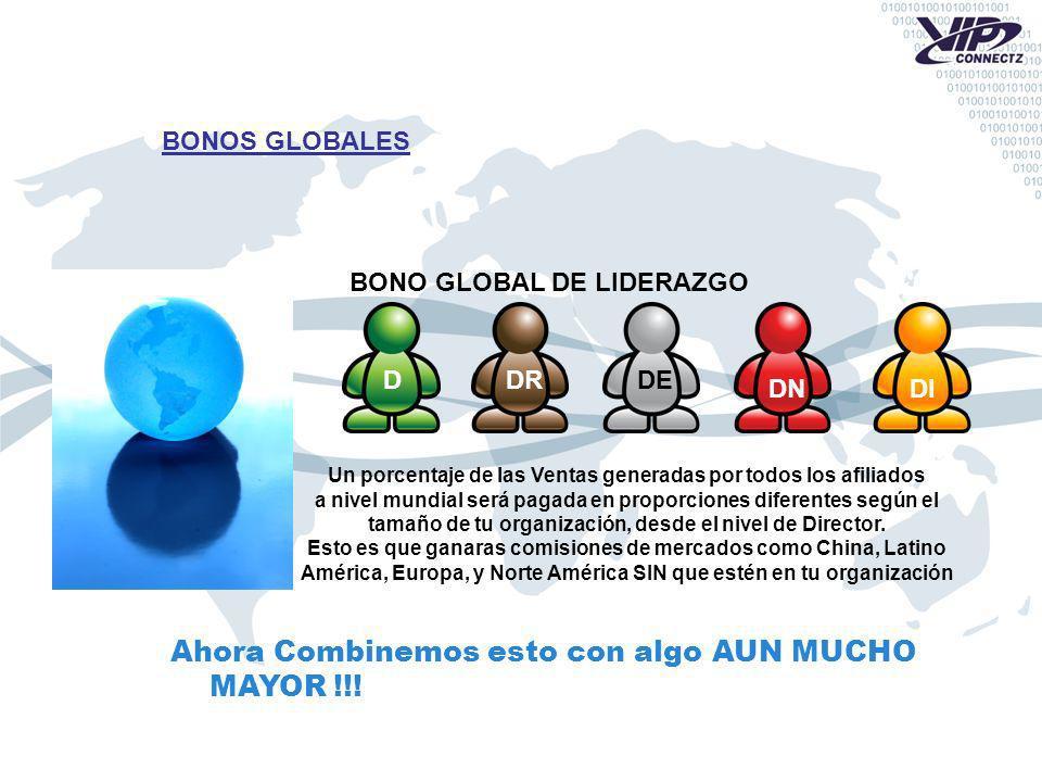 BONOS GLOBALES D DR Un porcentaje de las Ventas generadas por todos los afiliados a nivel mundial será pagada en proporciones diferentes según el tamaño de tu organización, desde el nivel de Director.