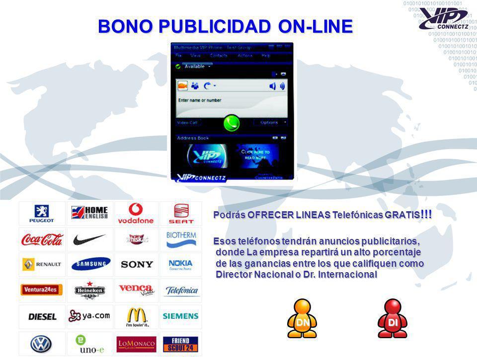 DNDI BONO PUBLICIDAD ON-LINE Podrás OFRECER LINEAS Telefónicas GRATIS !!! Esos teléfonos tendrán anuncios publicitarios, donde La empresa repartirá un
