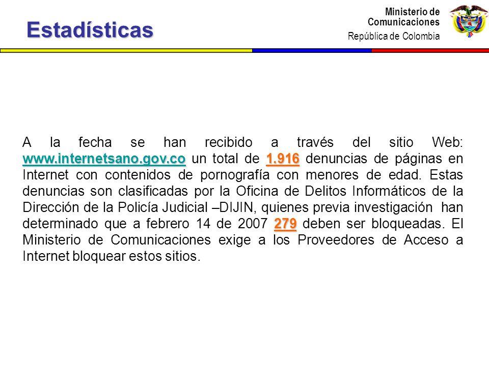 Ministerio de Comunicaciones República de Colombia Ministerio de Comunicaciones República de Colombia www.internetsano.gov.cowww.internetsano.gov.co1.