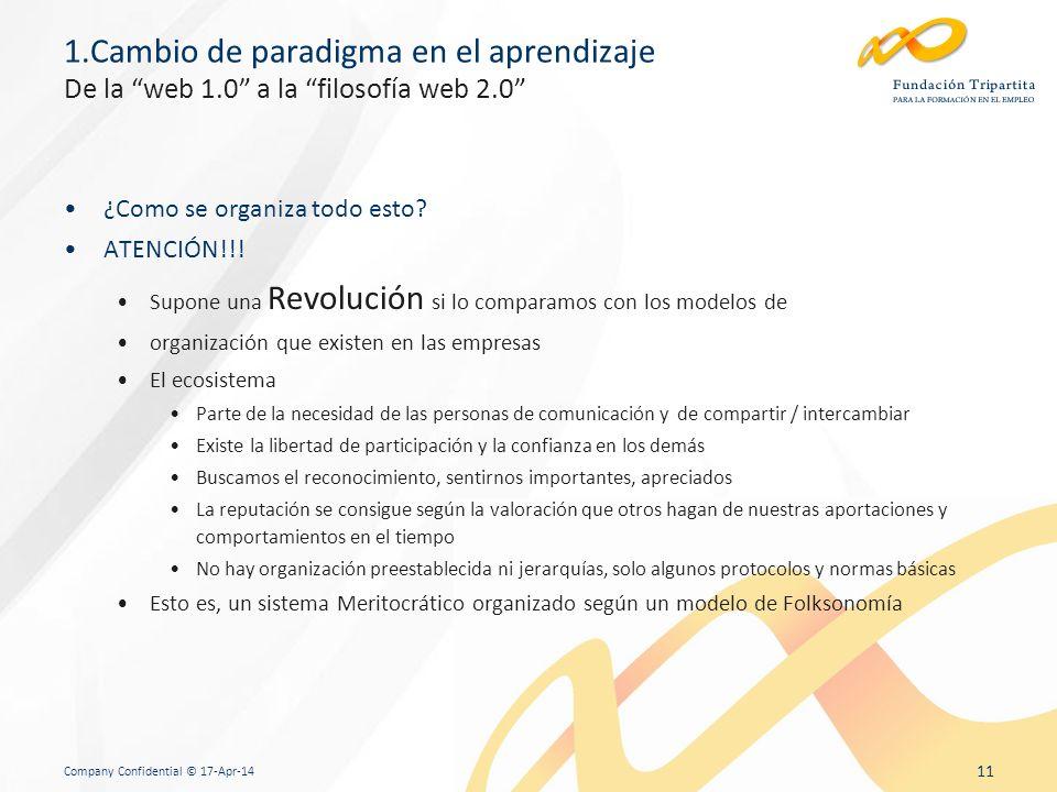 Company Confidential © 17-Apr-14 11 1.Cambio de paradigma en el aprendizaje De la web 1.0 a la filosofía web 2.0 ¿Como se organiza todo esto.