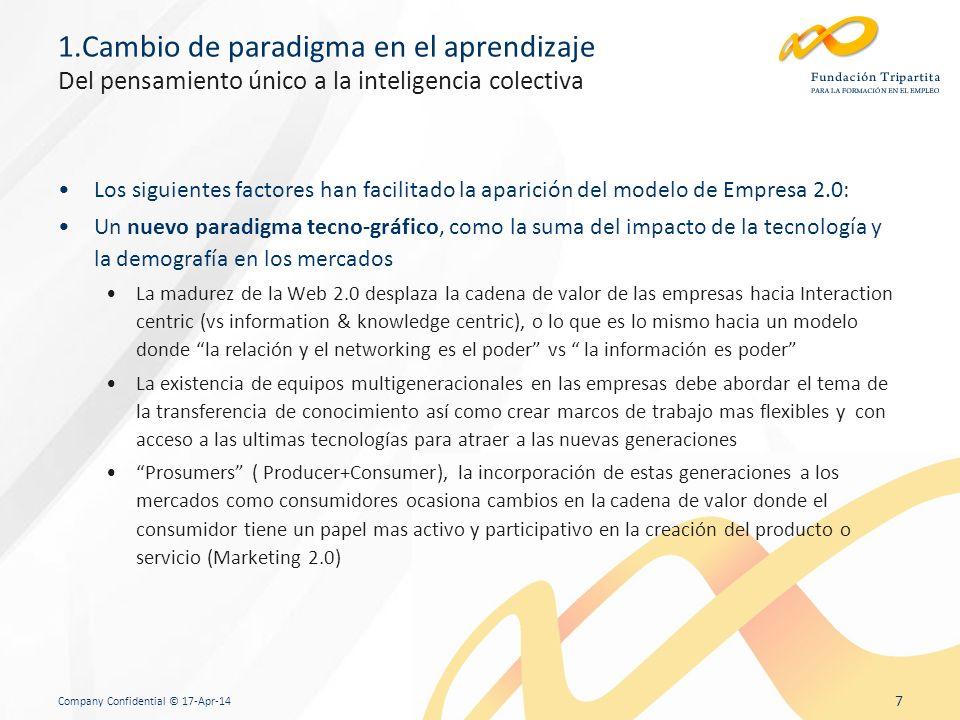 Company Confidential © 17-Apr-14 7 1.Cambio de paradigma en el aprendizaje Del pensamiento único a la inteligencia colectiva Los siguientes factores han facilitado la aparición del modelo de Empresa 2.0: Un nuevo paradigma tecno-gráfico, como la suma del impacto de la tecnología y la demografía en los mercados La madurez de la Web 2.0 desplaza la cadena de valor de las empresas hacia Interaction centric (vs information & knowledge centric), o lo que es lo mismo hacia un modelo donde la relación y el networking es el poder vs la información es poder La existencia de equipos multigeneracionales en las empresas debe abordar el tema de la transferencia de conocimiento así como crear marcos de trabajo mas flexibles y con acceso a las ultimas tecnologías para atraer a las nuevas generaciones Prosumers ( Producer+Consumer), la incorporación de estas generaciones a los mercados como consumidores ocasiona cambios en la cadena de valor donde el consumidor tiene un papel mas activo y participativo en la creación del producto o servicio (Marketing 2.0)
