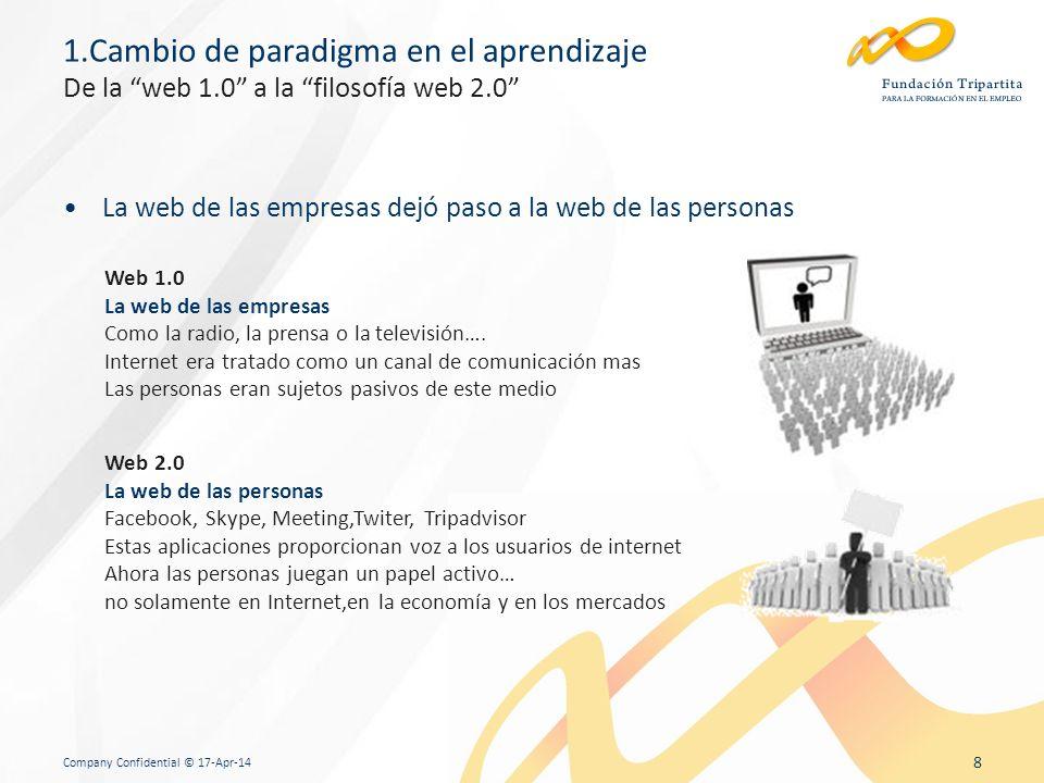 Company Confidential © 17-Apr-14 8 1.Cambio de paradigma en el aprendizaje De la web 1.0 a la filosofía web 2.0 La web de las empresas dejó paso a la web de las personas Web 1.0 La web de las empresas Como la radio, la prensa o la televisión….