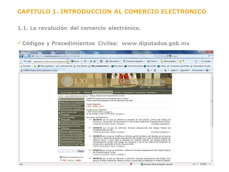 CAPITULO 1. INTRODUCCION AL COMERCIO ELECTRONICO 1.1. La revolución del comercio electrónico. Códigos y Procedimientos Civiles: www.diputados.gob.mx