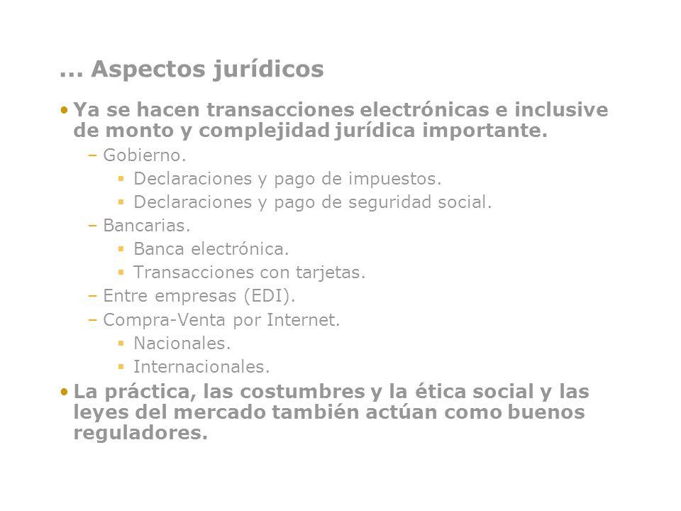... Aspectos jurídicos Ya se hacen transacciones electrónicas e inclusive de monto y complejidad jurídica importante. –Gobierno. Declaraciones y pago