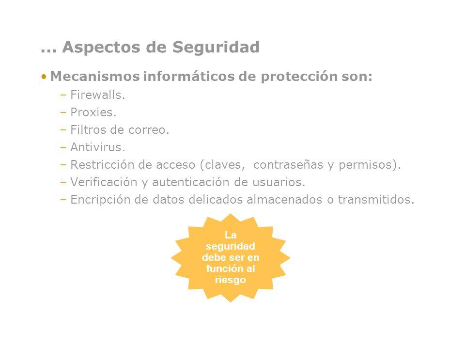 ... Aspectos de Seguridad Mecanismos informáticos de protección son: –Firewalls. –Proxies. –Filtros de correo. –Antivirus. –Restricción de acceso (cla
