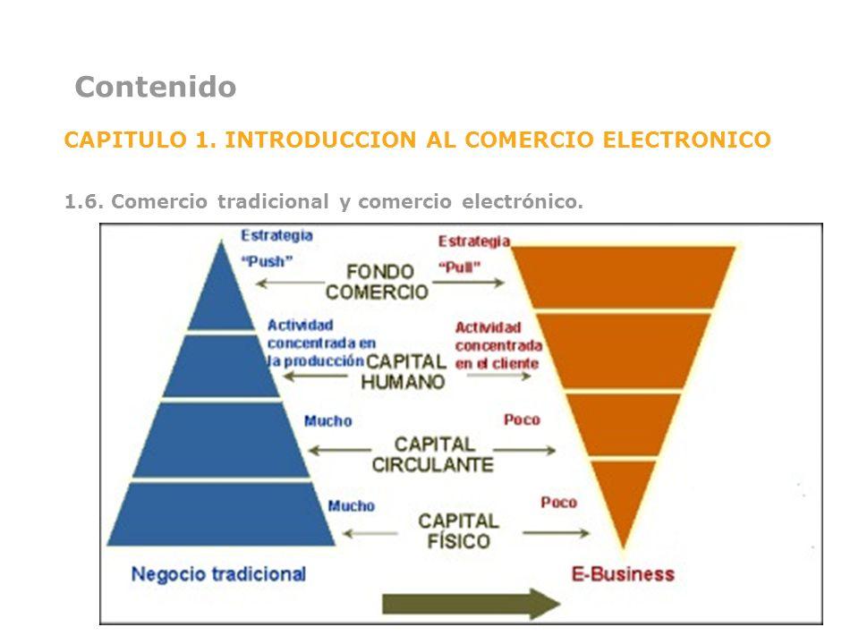 Contenido CAPITULO 1. INTRODUCCION AL COMERCIO ELECTRONICO 1.6. Comercio tradicional y comercio electrónico.