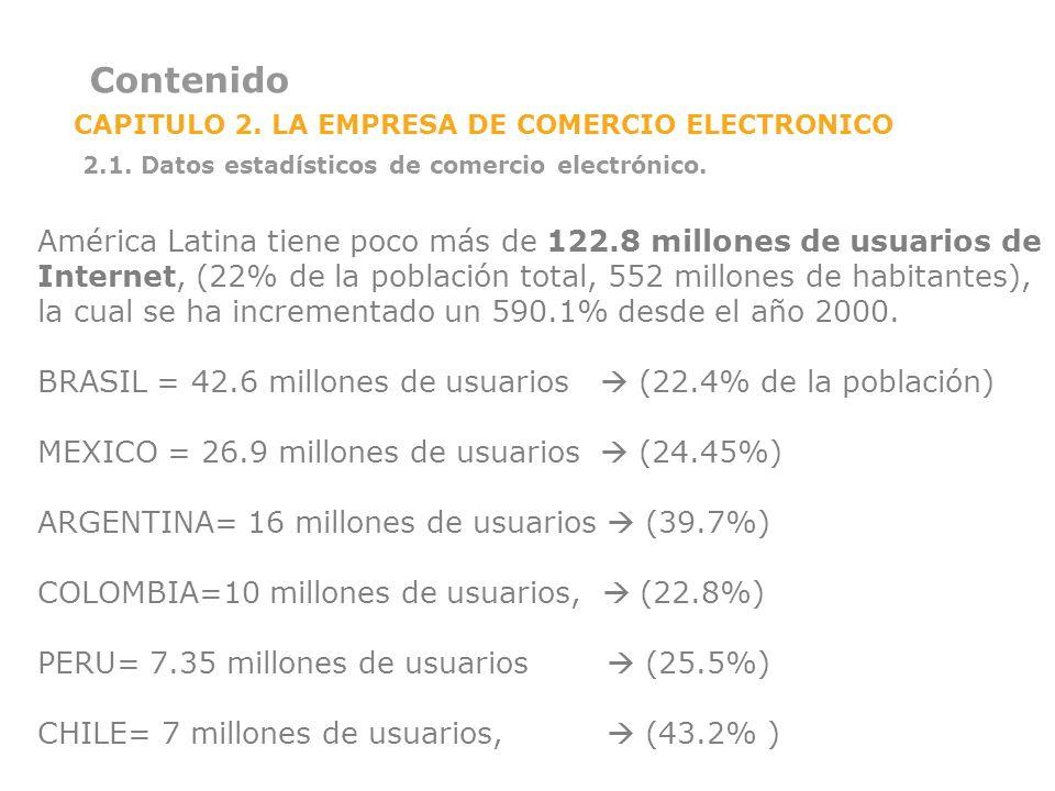 Contenido CAPITULO 2. LA EMPRESA DE COMERCIO ELECTRONICO 2.1. Datos estadísticos de comercio electrónico. América Latina tiene poco más de 122.8 millo
