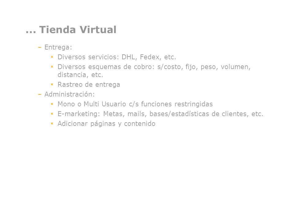 ... Tienda Virtual –Entrega: Diversos servicios: DHL, Fedex, etc. Diversos esquemas de cobro: s/costo, fijo, peso, volumen, distancia, etc. Rastreo de