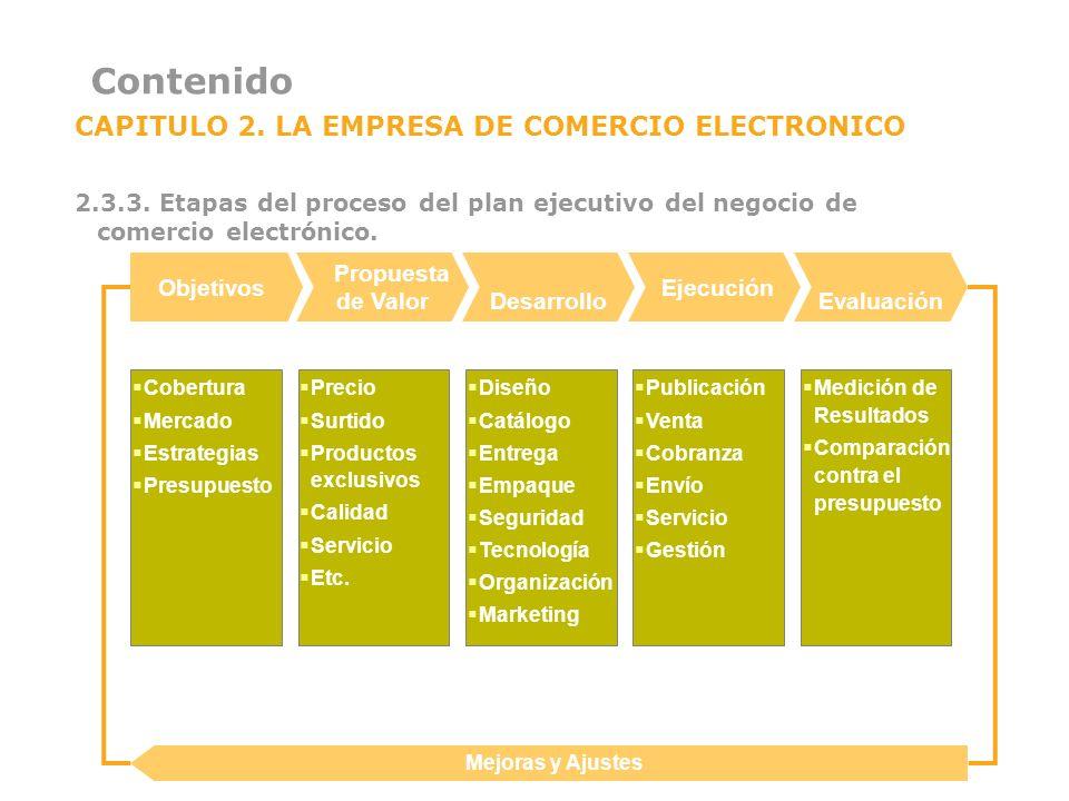 Contenido CAPITULO 2. LA EMPRESA DE COMERCIO ELECTRONICO 2.3.3. Etapas del proceso del plan ejecutivo del negocio de comercio electrónico. Mejoras y A