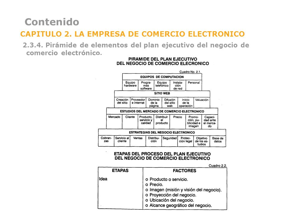Contenido CAPITULO 2. LA EMPRESA DE COMERCIO ELECTRONICO 2.3.4. Pirámide de elementos del plan ejecutivo del negocio de comercio electrónico.