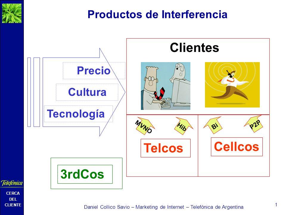 CERCA DEL CLIENTE Daniel Collico Savio – Marketing de Internet – Telefónica de Argentina 1 Productos de Interferencia Clientes Telcos Cellcos 3rdCos Tecnología Cultura Precio Híb Bi MVNO P2P