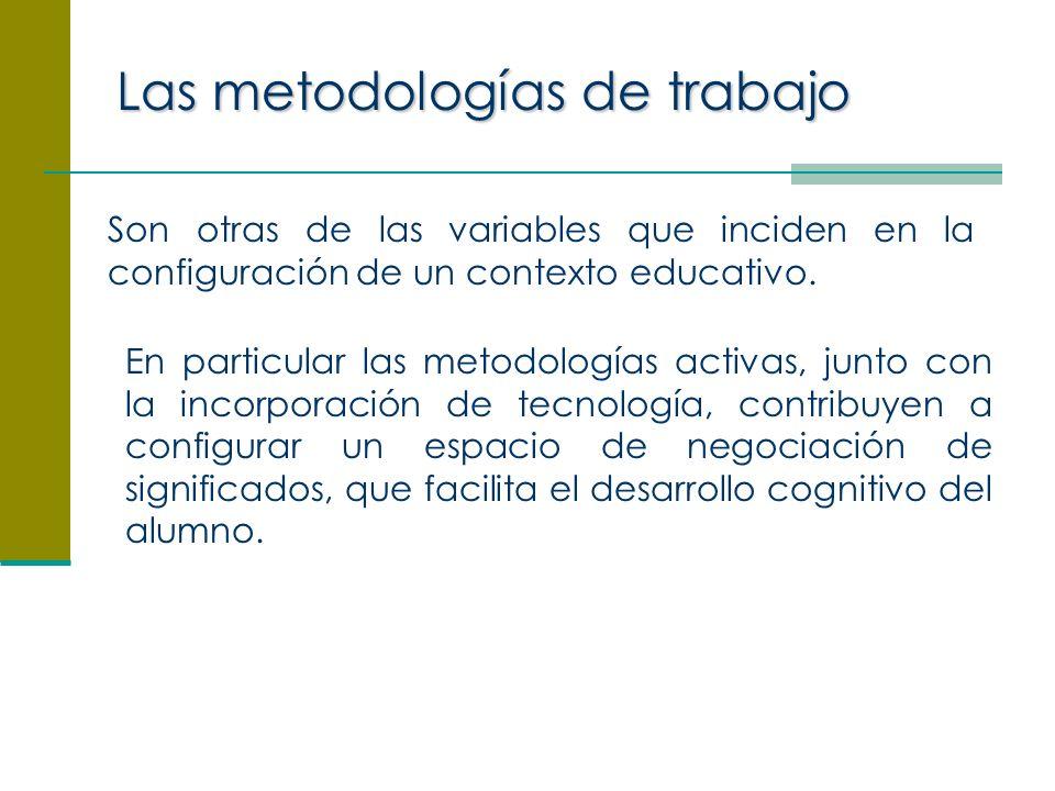 Las metodologías de trabajo Son otras de las variables que inciden en la configuración de un contexto educativo.