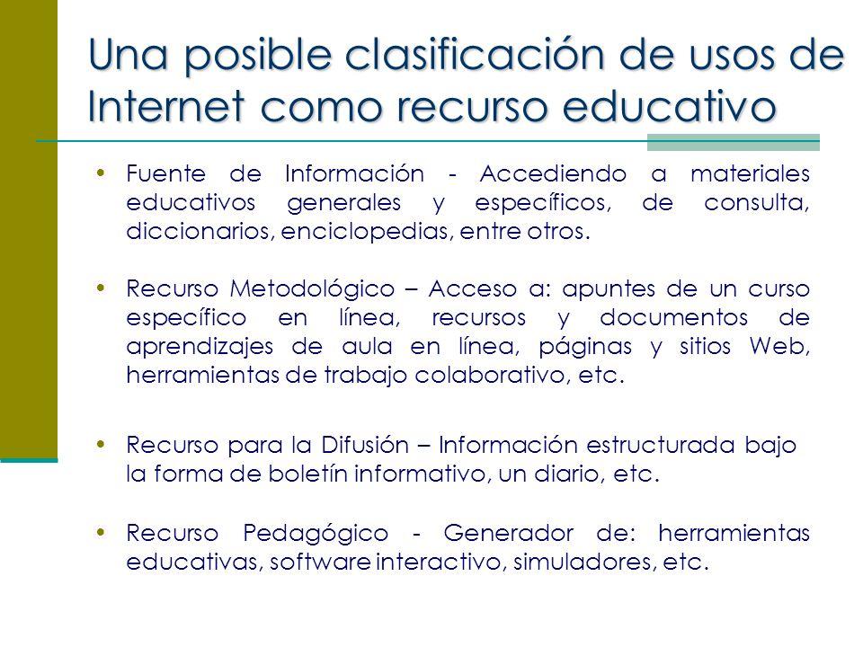 Una posible clasificación de usos de Internet como recurso educativo Fuente de Información - Accediendo a materiales educativos generales y específicos, de consulta, diccionarios, enciclopedias, entre otros.