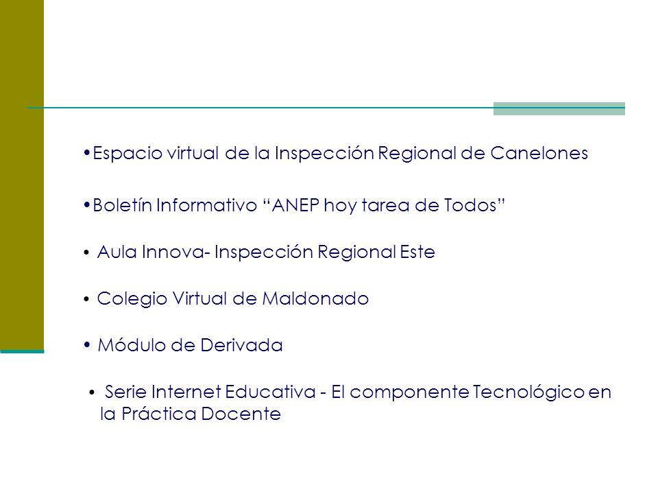 Espacio virtual de la Inspección Regional de Canelones Boletín Informativo ANEP hoy tarea de Todos Aula Innova- Inspección Regional Este Colegio Virtual de Maldonado Módulo de Derivada Serie Internet Educativa - El componente Tecnológico en la Práctica Docente