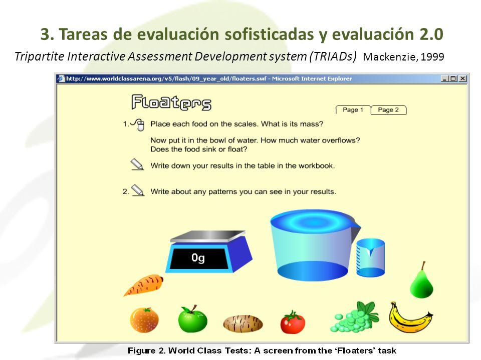 Tripartite Interactive Assessment Development system (TRIADs) Mackenzie, 1999 3. Tareas de evaluación sofisticadas y evaluación 2.0