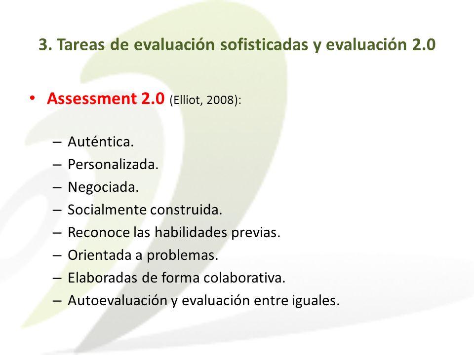Assessment 2.0 (Elliot, 2008): – Auténtica. – Personalizada. – Negociada. – Socialmente construida. – Reconoce las habilidades previas. – Orientada a