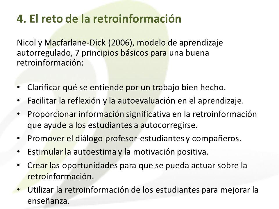 Nicol y Macfarlane-Dick (2006), modelo de aprendizaje autorregulado, 7 principios básicos para una buena retroinformación: Clarificar qué se entiende