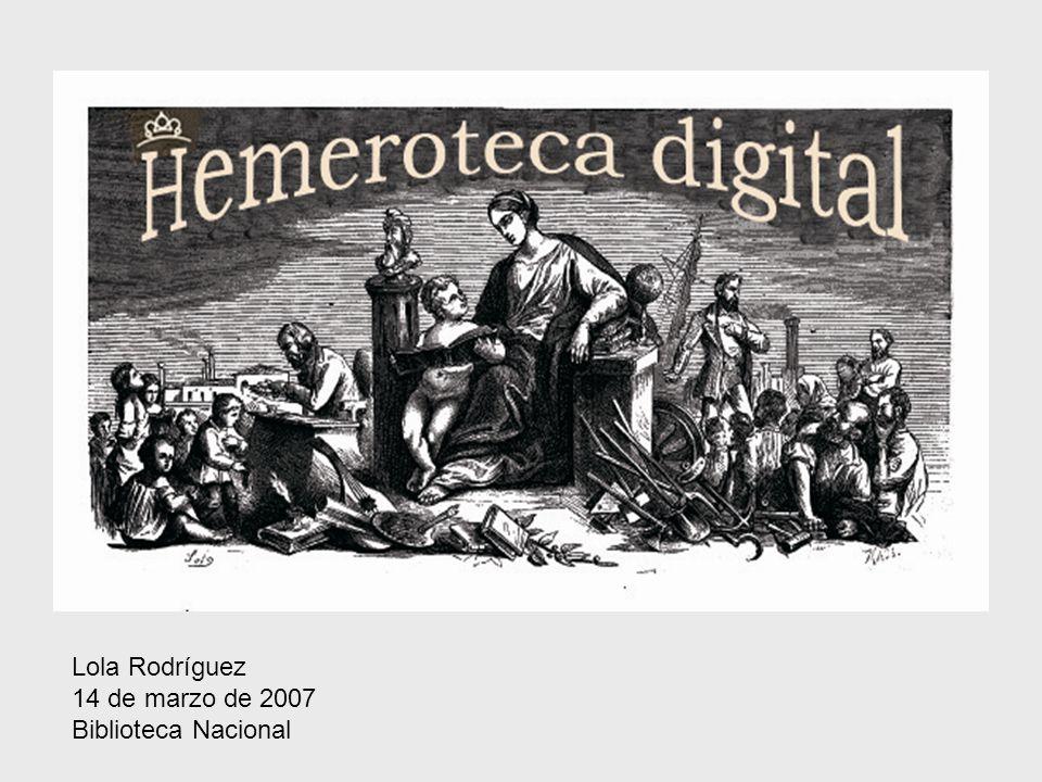 SITUACIÓN ACTUAL DEL PROYECTO PLATAFORMA DIGITAL PARA LA PRENSA EN LA BN 3 líneas de actuación: –VISOR HEMEROGRÁFICO (consulta de discos) –HEMEROTECA DIGITAL EN RED LOCAL –HEMEROTECA DIGITAL EN INTERNET