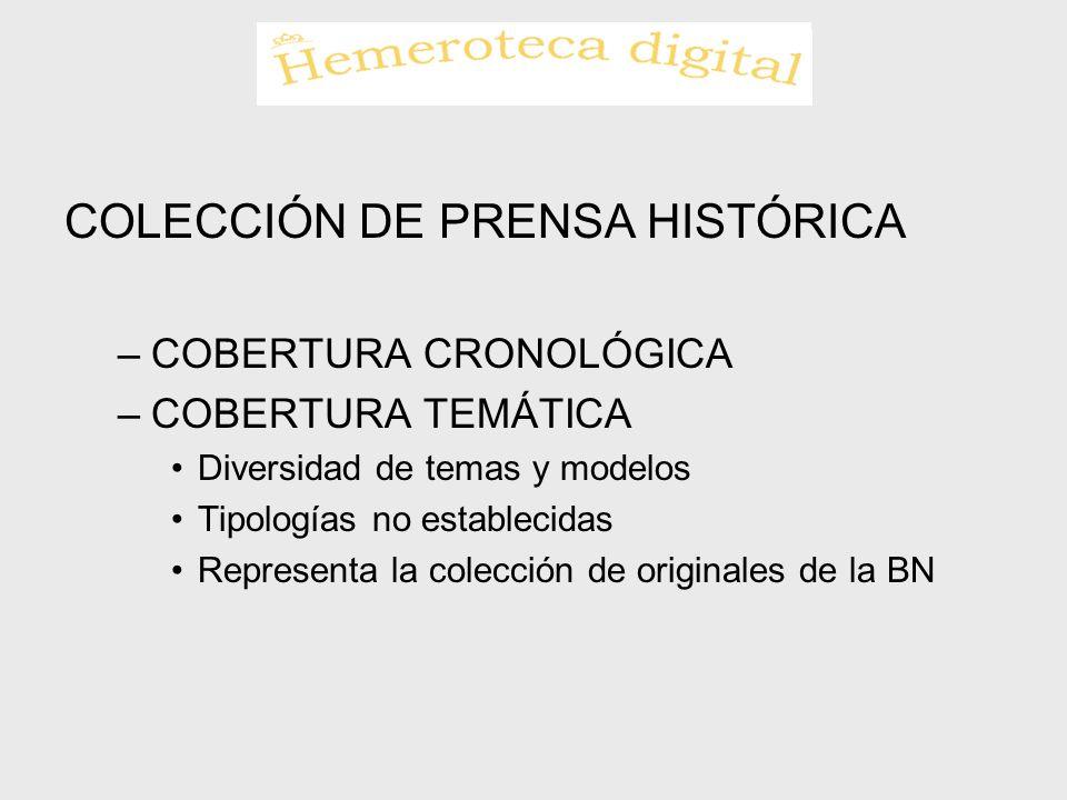 COLECCIÓN DE PRENSA HISTÓRICA –COBERTURA CRONOLÓGICA –COBERTURA TEMÁTICA Diversidad de temas y modelos Tipologías no establecidas Representa la colecc