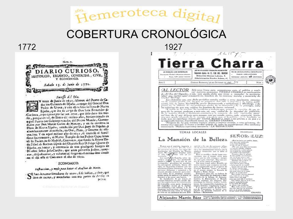COBERTURA CRONOLÓGICA 17721927