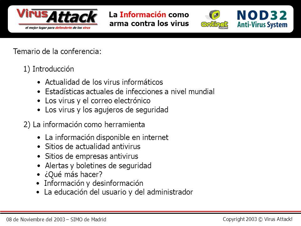 08 de Noviembre del 2003 – SIMO de Madrid Copyright 2003 © Virus Attack! Temario de la conferencia: 1) Introducción Actualidad de los virus informátic