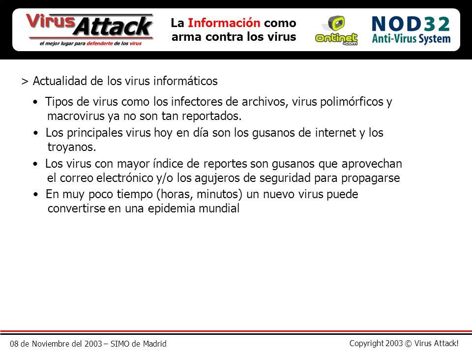 08 de Noviembre del 2003 – SIMO de Madrid Copyright 2003 © Virus Attack! > Actualidad de los virus informáticos La Información como arma contra los vi