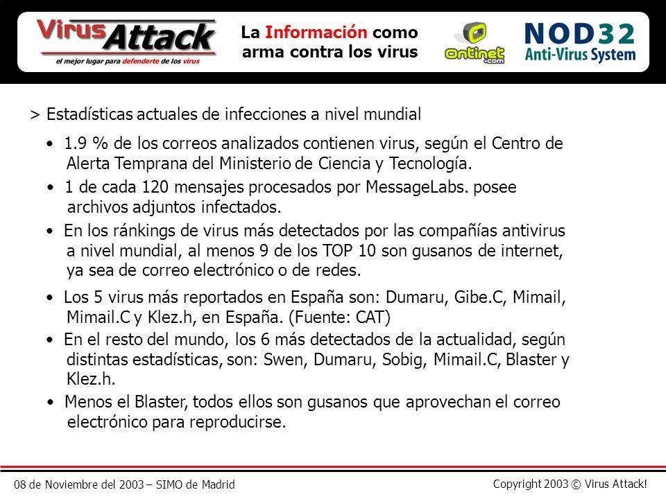08 de Noviembre del 2003 – SIMO de Madrid Copyright 2003 © Virus Attack! > Estadísticas actuales de infecciones a nivel mundial La Información como ar