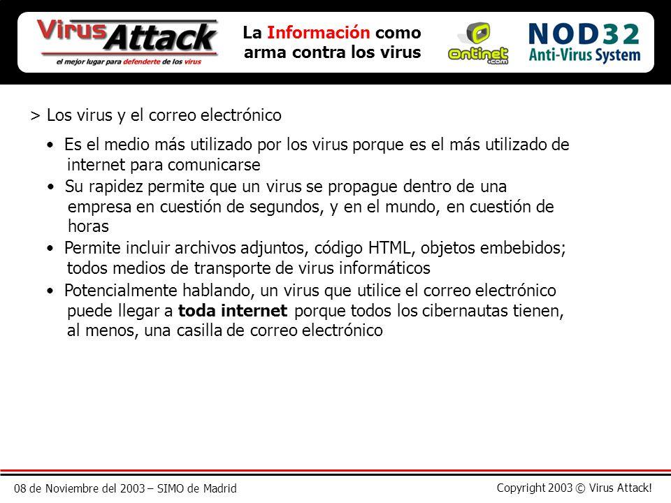 08 de Noviembre del 2003 – SIMO de Madrid Copyright 2003 © Virus Attack! La Información como arma contra los virus > Los virus y el correo electrónico