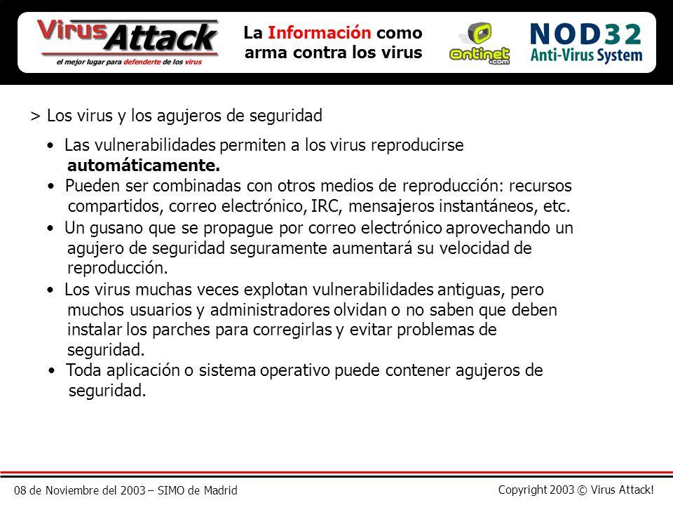 08 de Noviembre del 2003 – SIMO de Madrid Copyright 2003 © Virus Attack! La Información como arma contra los virus > Los virus y los agujeros de segur