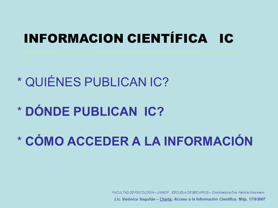 QUIÉNES PUBLICAN FACULTAD DE PSICOLOGÍA – UNMDP..ESCUELA DE BECARIOS – Coordinadora Dra.