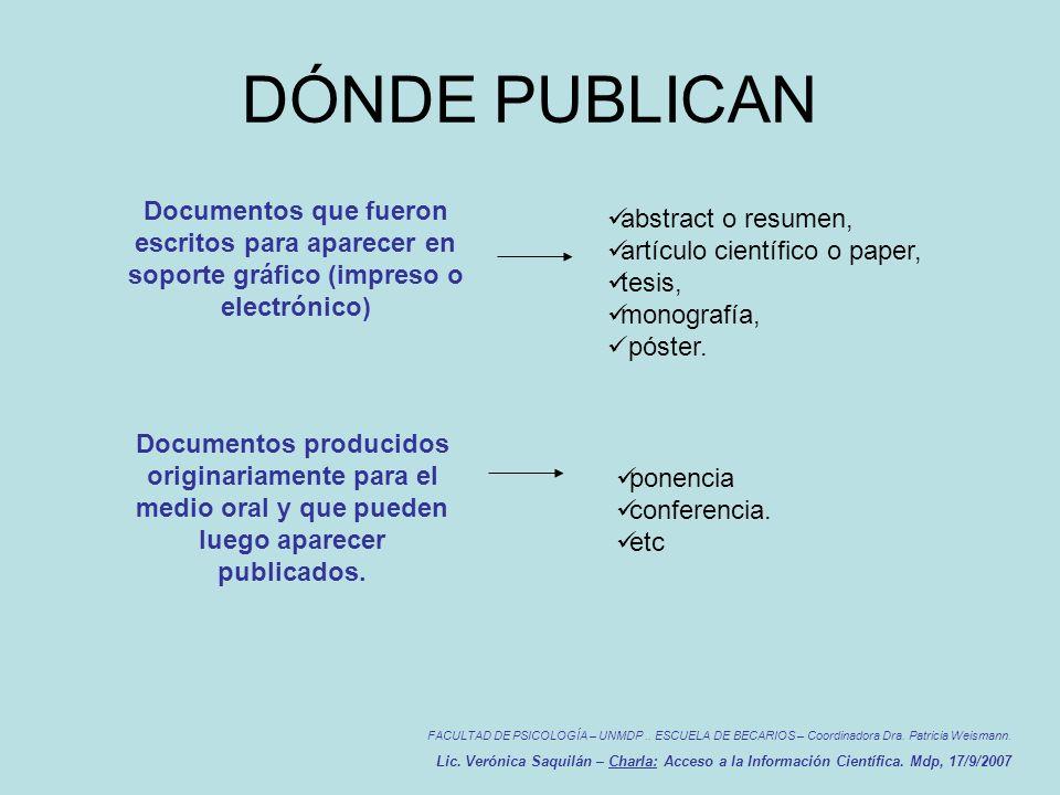 DÓNDE PUBLICAN FACULTAD DE PSICOLOGÍA – UNMDP.. ESCUELA DE BECARIOS – Coordinadora Dra.