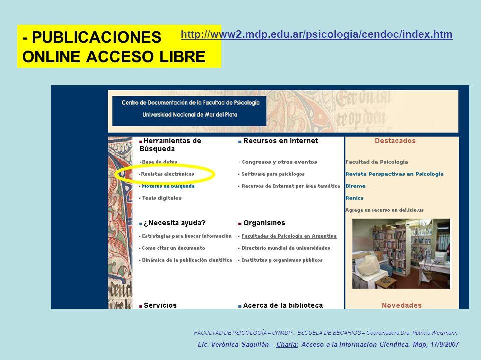 FACULTAD DE PSICOLOGÍA – UNMDP.. ESCUELA DE BECARIOS – Coordinadora Dra.